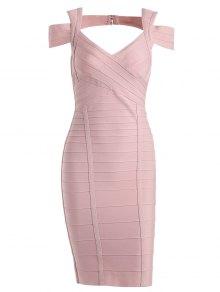 Sweetheart Neck Cut Out Bandage Dress - Pink L
