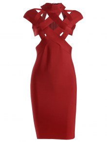 Cut Out Fitted Bandage Dress - Red M