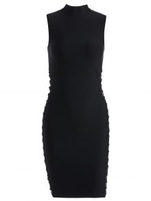 High Neck Criss Cross Bandage Dress - Black L