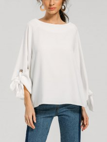 Bow Tie Sleeve Blouse With Metallic Rings - White M