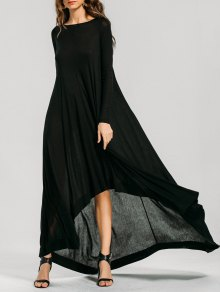 Long Sleeve High Low Maxi Dress - Black Xl