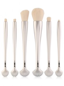 6Pcs Plated Shell Element Facial Makeup Brushes Set - Silver