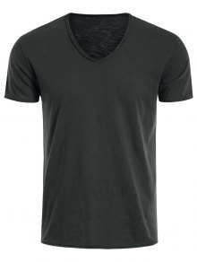 Mens V Neck Cotton Basic Tee - Deep Gray 2xl