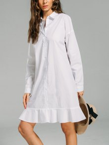 Button Down Ruffled Hem Shirt Dress - White Xl