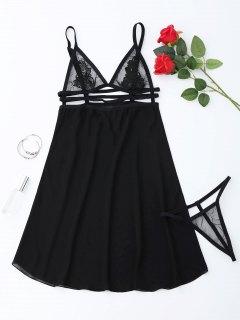 Sheer Babydoll Slip Dress With Thong Panty - Black