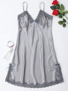 Side Slit Lustrous Satin Slip Dress - Gray M