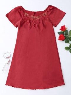 Short Sleeve Satin Lounge Sleep Dress - Red M