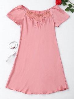 Short Sleeve Satin Lounge Sleep Dress - Pink L