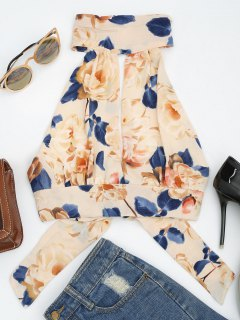 Floral Print Cut Out Sleeveless Crop Top - Apricot S