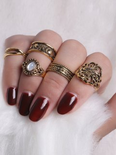 Faux Gemstone Engraved Flower Ring Set - Golden