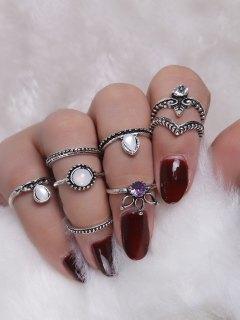 Faux Crystal Opal Teardrop Ring Set - Silver