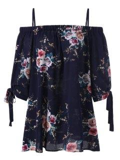 Plus Size Floral Cold Shoulder Blouse - Purplish Blue 2xl