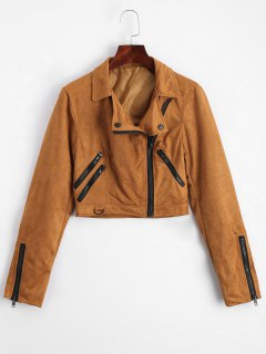 Fuax Suede Zip Up Cropped Jacket - Light Coffee M