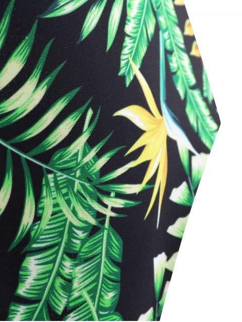 fashion Backless Plunge Monokini with Tropical Print - GREEN M Mobile