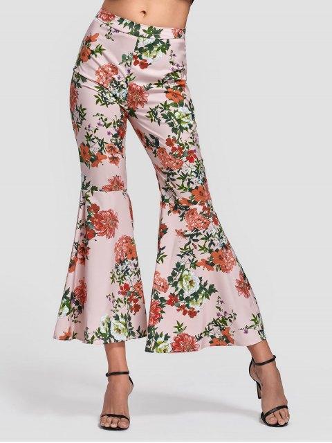 Pantalon à Bas Évasé Floral Zippé Latéral - Floral L Mobile
