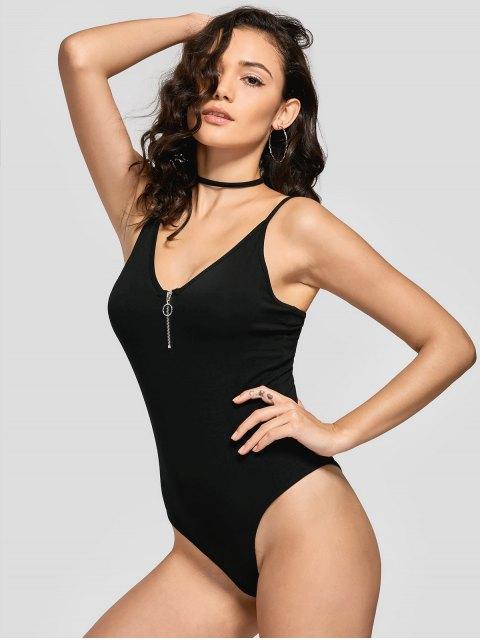 Skinny Half Zip Bodysuit - Noir M Mobile