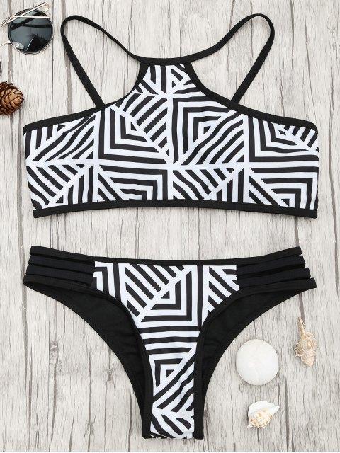latest Padded Stripe Print Bikini Set - WHITE AND BLACK S Mobile