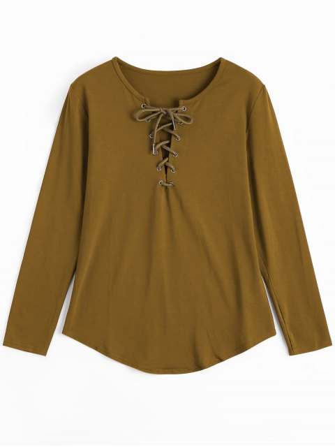 trendy Lace Up Long Sleeve Plunge Tee - EARTHY L Mobile