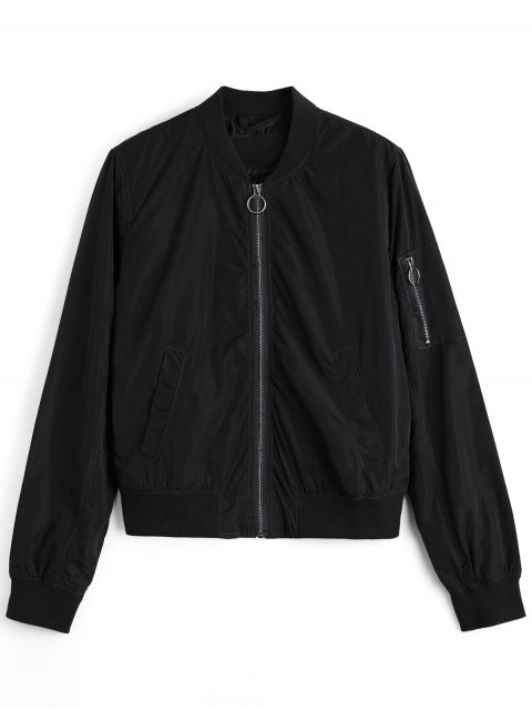 womens Zipper Plain Bomber Jacket - BLACK L Mobile