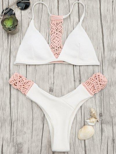 Conjunto De Bikini Con Tanga De Macrame Acolchada - Rosa Y Blanco S