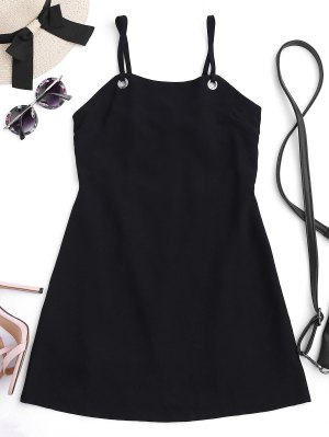 Back Tied Cut Out Mini Dress - Black S