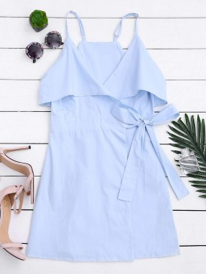 Overlay Slip Wrap Mini Dress - Light Blue S
