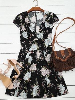 Vestido Escotado Con Cuello En V De Flores - Negro M