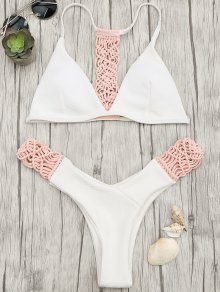 Padded Macrame Thong Bikini Set - Pink And White S