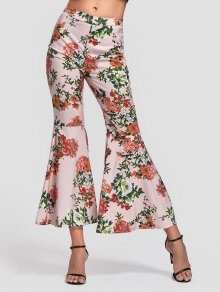 Side Zip Floral Bell Bottom Pants - Floral M
