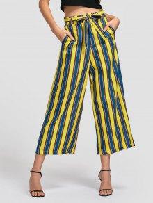Belted Striped Wide Leg Pants - Stripe L