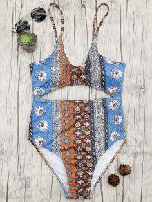 Cutout Patchwork Print One Piece Swimsuit - Floral L