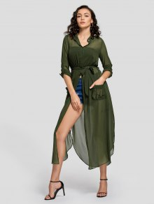 Slit Belted Half Buttoned Maxi Dress - Army Green L
