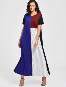 Casual Color Block Shift Maxi Dress - Multi Xl