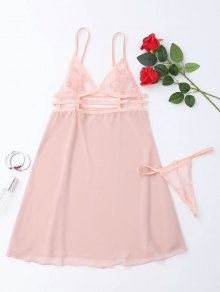 Sheer Babydoll Slip Dress With Thong Panty - Pink
