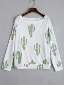 Boat Neck Cacti Print Long Sleeve Tee - White L