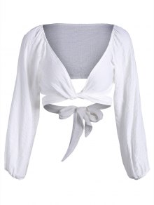 Self Tie Plunging Neck Crop Blouse - White S