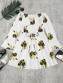 Floral Print Long Sleeve Dress - Yellow M