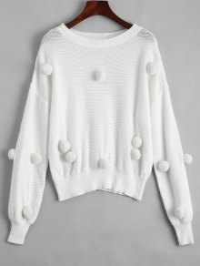 Loose Balls Patched Sweater - White L