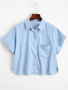 Graphic Button Down Shirt With Pocket - Light Blue S