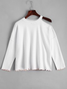 Ruffled Loose Cold Shoulder Sweater - White S