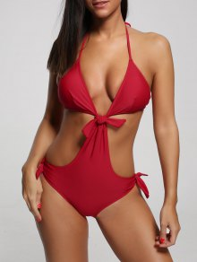 One Piece Cut Out Halter Swimwear - Red M