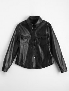PU Leather Shirt With Pockets - Black 2xl