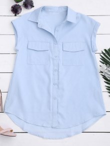 Sleeveless Button Down Shirt With Pockets - Light Blue M