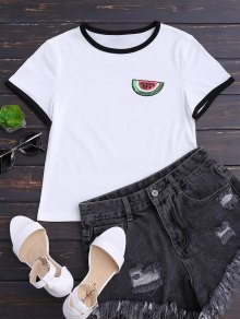 Cropped Watermelon Sequins Top - White M