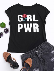Cotton Letter Rose Top - Black Xl