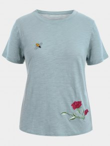 Floral Bee Embroidered Plus Size Tee - Gray Xl