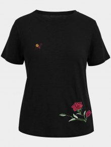 Floral Bee Embroidered Plus Size Tee - Black 4xl