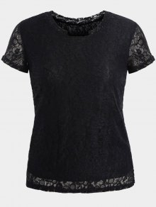 Short Sleeve Plus Size Lace Top - Black Xl