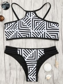 Padded Stripe Print Bikini Set - White And Black S