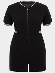 Zipper Contrast Stripe Plus Size Dress With Pockets - Black 3xl